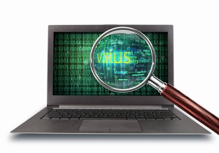 hacked: A computer virus detection symbol illustration with word Virus Stock Photo