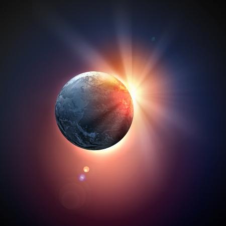 Afbeelding van planeet aarde in de ruimte tegen illustratie achtergrond Stockfoto