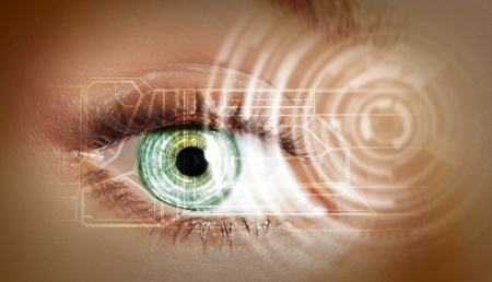 Eye viewing digital information represented by circles and signs Stock Photo - 17659177