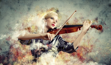 Image of beautiful female violinist playing with against colorful background Stock Photo - 17672552