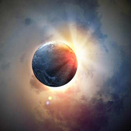 cosmos: Image of earth planet in space against illustration background Stock Photo