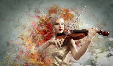 Image of beautiful female violinist playing against colorful background photo