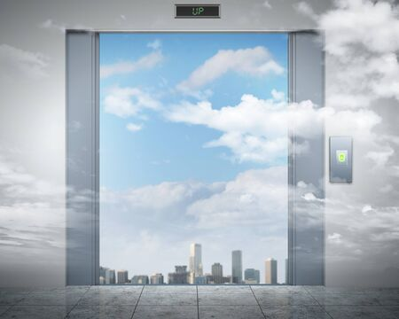three dimensional accessibility: the elevator doors and the natural landscape behind them Stock Photo
