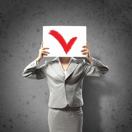 Image of businesswoman holding message board  Conceptual photo photo