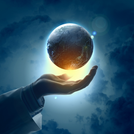 hands holding globe: Hand of businessman holding earth planet against illustration background Stock Photo