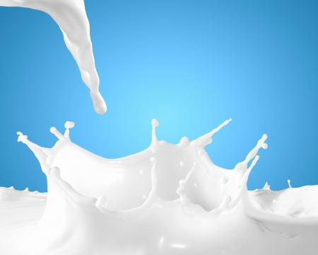 pouring milk: Image of milk splashes against color background