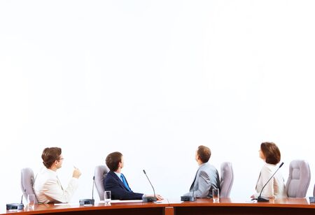 Entrepreneurs: Image of businesspeople at presentation looking at screen  Space for advertisment