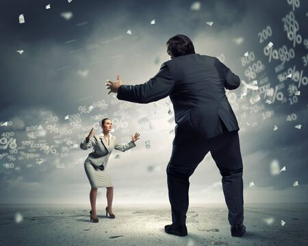 businesspartners: Image of businesspeople arguing and acting as sumo fighters Stock Photo