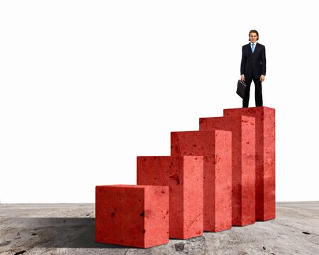 population growth: Business person on a graph, representing success and growth