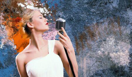 Image of female singer holding microphone against illustration background illustration