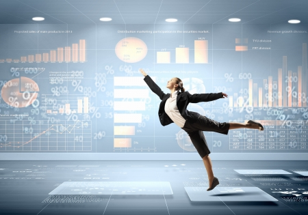 precipitate: Image of pretty businesswoman jumping high against financial background Stock Photo