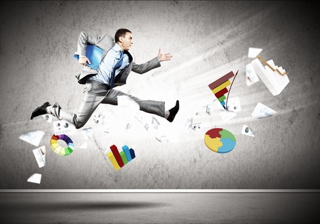 running businessman: Image of a businessman jumping high against financial background