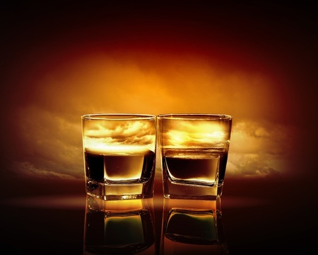 Two glasses of whiskey with sea illustration in against sky background illustration