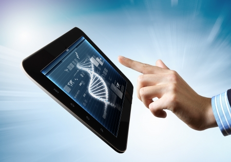 DNA helix abstract background on the tablet screen  Illustration Stock Illustration - 18021026