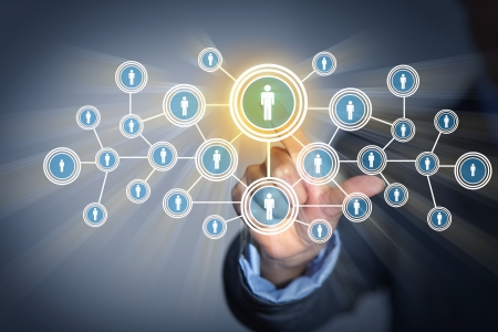 press media: Image of male touching virtual icon of social network