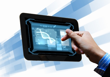 DNA helix abstract background on the tablet screen  Illustration Stock Illustration - 18020873