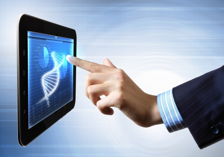 DNA helix abstract background on the tablet screen  Illustration Stock Illustration - 18021057