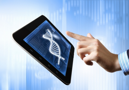 DNA helix abstract background on the tablet screen  Illustration Stock Illustration - 18020981