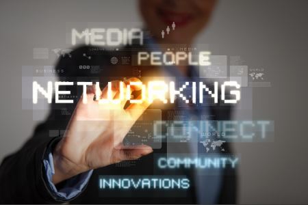 people networking: Business woman touching virtual display  Business and technology concept