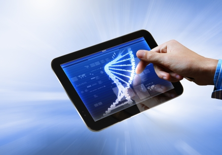 DNA helix abstract background on the tablet screen  Illustration Stock Illustration - 18021056