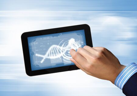 DNA helix abstract background on the tablet screen  Illustration Stock Illustration - 18020927