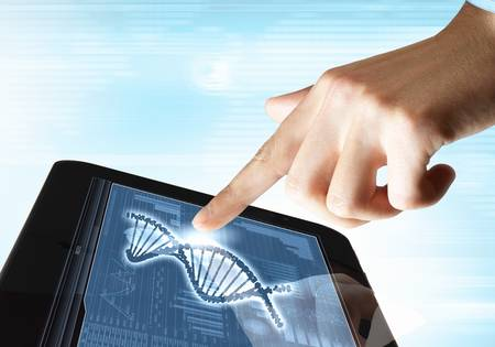 DNA helix abstract background on the tablet screen  Illustration Stock Illustration - 18020989