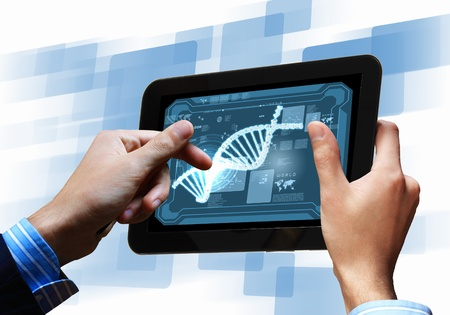 raytrace: DNA helix abstract background on the tablet screen  Illustration