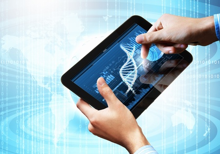 DNA helix abstract background on the tablet screen  Illustration Stock Illustration - 18051873