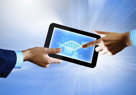 DNA helix abstract background on the tablet screen  Illustration Stock Illustration - 18051894