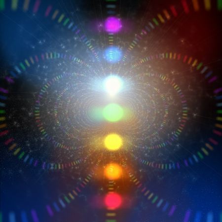 spiritual: cosmic energy abstract background with rainbow corcles