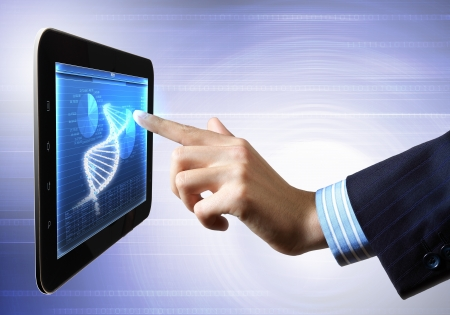 DNA helix abstract background on the tablet screen  Illustration Stock Illustration - 18051848