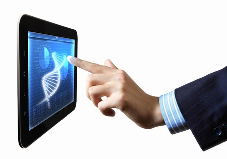DNA helix abstract background on the tablet screen  Illustration Stock Illustration - 18051784