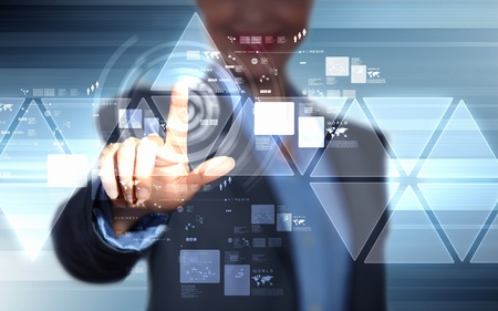 access point: image of businesswoman touching screen with finger