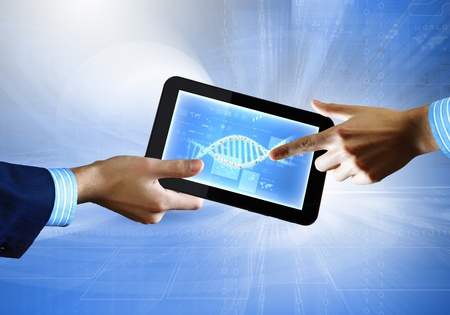 DNA helix abstract background on the tablet screen  Illustration Stock Illustration - 18051900
