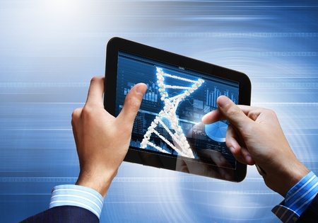 DNA helix abstract background on the tablet screen  Illustration Stock Illustration - 18051886