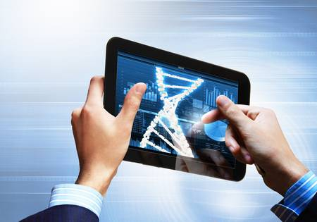DNA helix abstract background on the tablet screen  Illustration Stock Illustration - 18051841