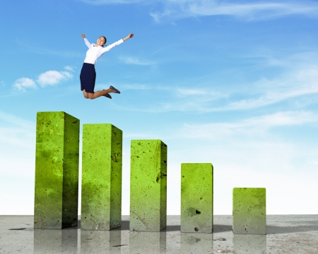 ascent: Business person on a graph, representing success and growth