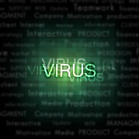detection: A computer virus detection symbol illustration with word Virus Stock Photo
