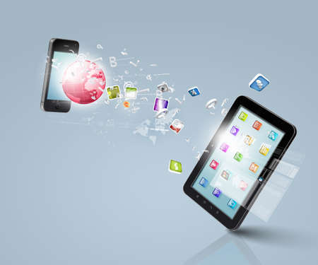 Modern communication technology illustration with mobile phone and high tech background Stock Illustration - 18149618