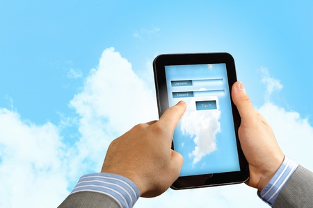 Login with email and password on computer screen Stock Photo - 18164779