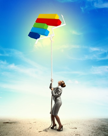 aloft: Image of businesswoman climbing the rope attached to diagram aloft Stock Photo