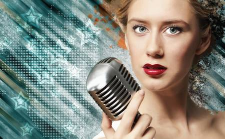 Image of female singer holding microphone against illustration background illustration