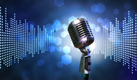 radio microphone: Single retro microphone against colourful background with lights