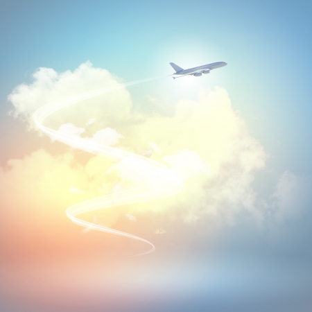 Image of flying airplane in sky with clouds at background Stock Photo - 18395041