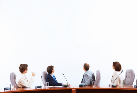 Image of businesspeople at presentation looking at screen  Space for advertisment Stock Photo - 18471810