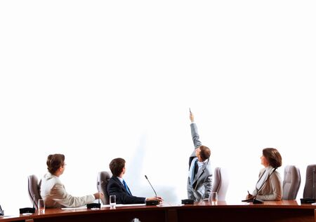 Image of businesspeople at presentation looking at screen  Space for advertisment Stock Photo - 18471774