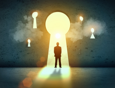 wayout: Silhouette of businessman standing in keyhole sun shining above Stock Photo
