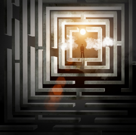 light tunnel: Silhouette of businessman standing in maze sun above