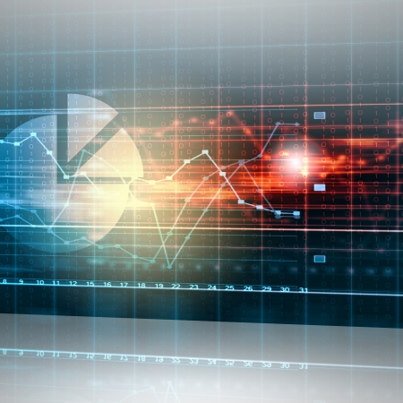 business finance: Abstract high tech background with graphs and diagrams Stock Photo