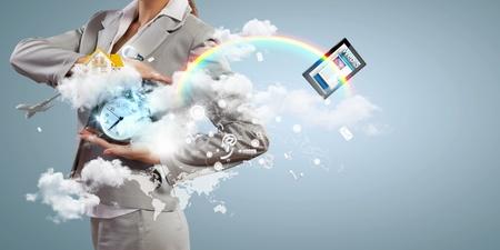 Image of businesswoman holding alarmclock against illustration background  Collage illustration